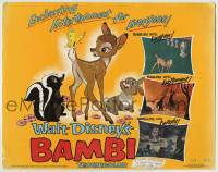 1r025 BAMBI TC R1966 Walt Disney cartoon deer classic, great art with Thumper & Flower!
