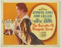 1r027 BARRETTS OF WIMPOLE STREET TC 1957 art of pretty Jennifer Jones as Elizabeth Browning!