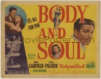 1r038 BODY & SOUL TC 1947 art of boxer John Garfield, Lilli Palmer & Hazel Brooks, Robert Rossen!