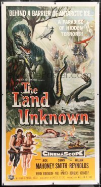 1w066 LAND UNKNOWN linen 3sh 1957 paradise of hidden terrors, great different art of dinosaurs!
