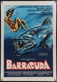 1w076 BARRACUDA linen Argentinean 1979 cool art of huge killer fish attacking sexy diver in bikini!