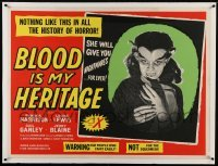 1w073 BLOOD OF DRACULA linen British quad 1957 Blood is My Heritage, really different & ultra rare!