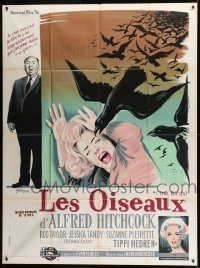 1w043 BIRDS French 1p 1963 different Grinsson art with Tandy, Tippi Hedren & Alfred Hitchcock