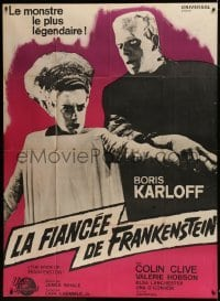 1w044 BRIDE OF FRANKENSTEIN French 1p R1964 Boris Karloff as the monster with Elsa Lanchester!