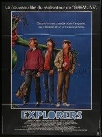 1w048 EXPLORERS French 1p 1985 art of young Ethan Hawke & River Phoenix with alien, Joe Dante!