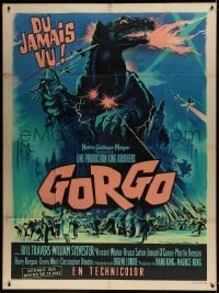 1w049 GORGO French 1p 1961 great artwork of giant monster terrorizing city by Roger Soubie!