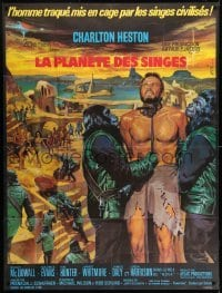 1w051 PLANET OF THE APES French 1p 1968 art of enslaved Charlton Heston by Jean Mascii!