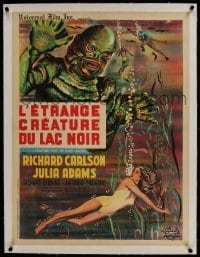 1w075 CREATURE FROM THE BLACK LAGOON linen French 24x31 R1962 art of monster looming over Julia Adams!
