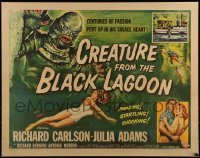 1w013 CREATURE FROM THE BLACK LAGOON style A 1/2sh 1954 art of monster & sexy Julie Adams in water!