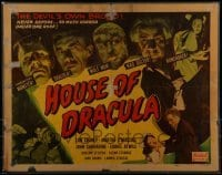 1w014 HOUSE OF DRACULA LAMINATED 1/2sh R1950 Lon Chaney Jr., John Carradine & other monsters, rare!