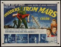 1w010 INVADERS FROM MARS linen 1/2sh 1953 classic, hordes of green monsters from outer space!