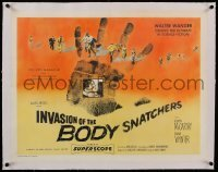 1w009 INVASION OF THE BODY SNATCHERS linen style A 1/2sh 1956 ultimate classic in science-fiction!