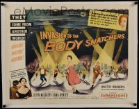 1w008 INVASION OF THE BODY SNATCHERS linen style B 1/2sh 1956 spotlight style on no other poster!