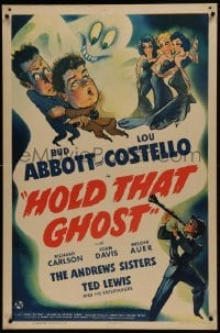 1w054 HOLD THAT GHOST 1sh 1941 great art of scared Bud Abbott & Lou Costello + sexy babes, rare!