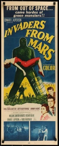 1w002 INVADERS FROM MARS insert 1953 classic, art of hordes of green monsters from outer space!