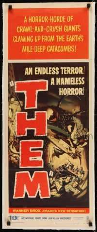 1w004 THEM linen insert 1954 classic sci-fi, art of horror horde of giant bugs terrorizing people!
