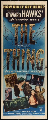 1w006 THING insert 1951 Howard Hawks' astounding movie, how did it get here from another world!