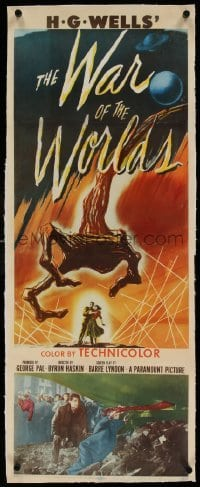 1w003 WAR OF THE WORLDS linen insert 1953 H.G. Wells classic produced by George Pal, best art!