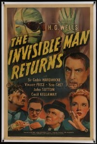1w109 INVISIBLE MAN RETURNS linen 1sh 1940 Vincent Price, Cedric Hardwicke, H.G. Wells, ultra rare!