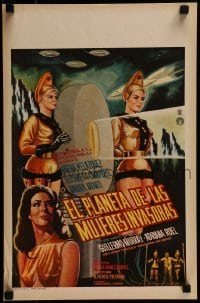 1w032 PLANET OF THE FEMALE INVADERS Mexican WC 1966 great photo & artwork of sexy alien girls!
