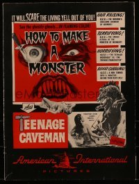 1w036 HOW TO MAKE A MONSTER/TEENAGE CAVEMAN pressbook 1958 includes cool color comic strip herald!
