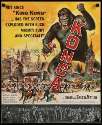 1w038 KONGA pressbook 1961 great artwork of giant angry ape terrorizing city by Reynold Brown!