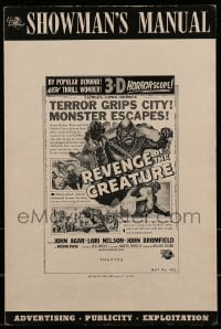 1w040 REVENGE OF THE CREATURE pressbook 1955 lots of 3-D ads & info about both releases!
