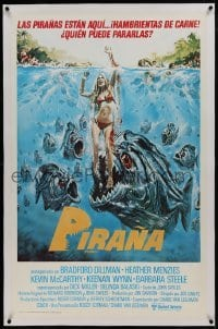 1w070 PIRANHA linen trimmed Spanish 1-stop 1978 different Larkin art of man-eating fish & sexy girl!