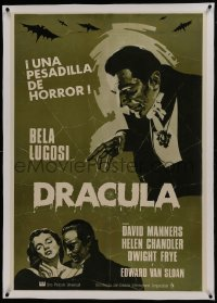 1w072 DRACULA linen Spanish R1970s great art of vampire Bela Lugosi, Tod Browning horror classic!
