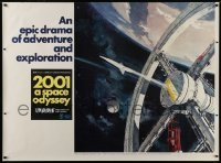 1w055 2001: A SPACE ODYSSEY Cinerama subway poster 1968 Kubrick, art of space wheel by Bob McCall!