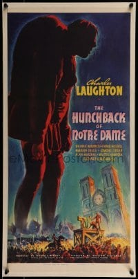 1w007 HUNCHBACK OF NOTRE DAME 12x26 trade ad 1939 has a great full-color image of the three-sheet!