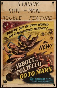 1w016 ABBOTT & COSTELLO GO TO MARS WC 1953 art of wacky astronauts Bud & Lou in outer space!