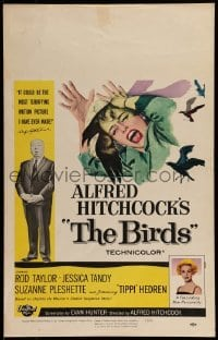 1w018 BIRDS WC 1963 director Alfred Hitchcock shown, Tippi Hedren, classic intense attack artwork!