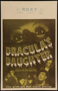 1w019 DRACULA'S DAUGHTER WC 1936 Gloria Holden, Universal vampire horror, different image, rare!