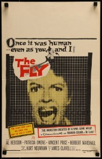 1w021 FLY WC 1958 classic sci-fi, great close up of girl screaming as seen through fly's eyes!