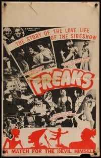 1w022 FREAKS WC R1949 Tod Browning, love life of the sideshow, watch for the Devil himself, rare!