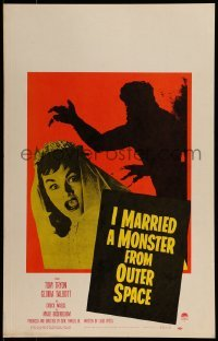1w024 I MARRIED A MONSTER FROM OUTER SPACE WC 1958 great image of Gloria Talbott & monster shadow!