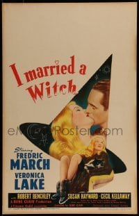 1w025 I MARRIED A WITCH WC 1942 wonderful art of sexiest Veronica Lake holding cat + Fredric March!