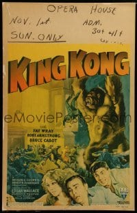 1w027 KING KONG WC R1942 different art of ape attacking + Fay Wray, Armstrong & Cabot, ultra rare!