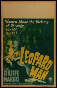 1w028 LEOPARD MAN WC 1943 Jacques Tourneur, art of Margo, the victim of a strange, savage killer!