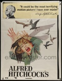 1x063 BIRDS INCOMPLETE 3sh 1963 director Alfred Hitchcock shown, Tippi Hedren, classic attack art!