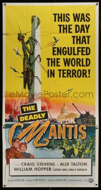 1x064 DEADLY MANTIS 3sh 1957 classic art of giant insect on Washington Monument by Ken Sawyer