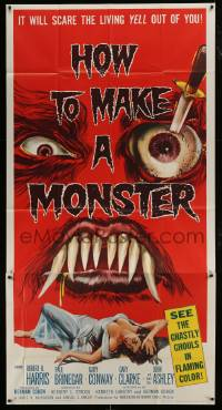 1x066 HOW TO MAKE A MONSTER 3sh 1958 ghastly ghouls, it will scare the living yell out of you!
