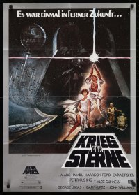 1x024 STAR WARS German 1977 George Lucas sci-fi epic, classic artwork by Tom Jung!