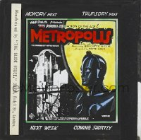 1x002 METROPOLIS English glass slide 1927 Fritz Lang classic, different image of robot by city!