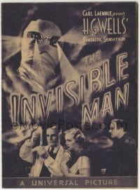 1x025 INVISIBLE MAN herald 1933 James Whale, H.G. Wells, bandaged Claude Rains w/ rays from eyes!