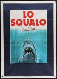 1x019 JAWS teaser Italian 1p 1975 classic art of man-eating shark attacking swimmer, ultra rare!