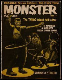 1x036 MONSTER PARADE magazine March 1959 art of Frankenstein, Dracula & Werewolf hula hooping!