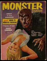 1x037 MONSTER PARADE magazine November 1958 art of werewolf & victim, Zoot Zombie, Undead Orgy!