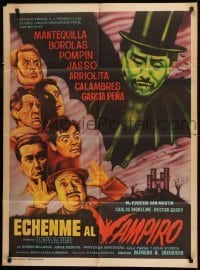 1x071 ECHENME AL VAMPIRO Mexican poster 1963 wacky art of bat with human head wearing top hat!